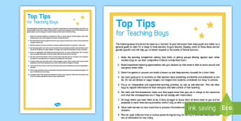 Top Tips for Teaching Boys Adult Guidance - Training, Development, Inset, Boys Learning, Teaching Boys