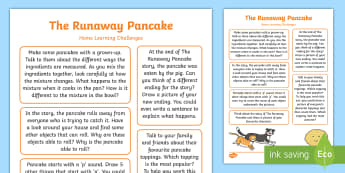 EYFS The Runaway Pancake Home Learning Challenges Reception FS2 - The Runaway Pancake, traditional tales, pancake day, Shrove Tuesday, homework, Mairi Mackinnon