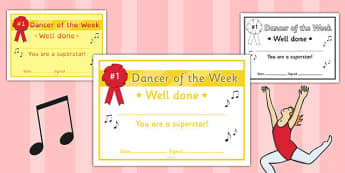 Dancer of the Week Certificate - dancer, week, certificate, award