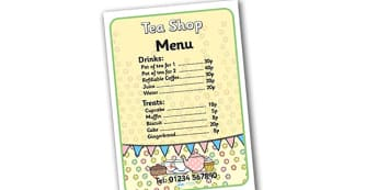 Tea Shop Role Play Menu - tea shop, role play, tea shop role play, menu, tea shop menu, role play menu menu for tea shop, tea shop prices, tea shop foods