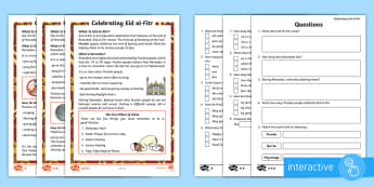 KS1 Eid al-Fitr Differentiated Comprehension Go Respond  Activity Sheets -  islam, muslim,, festival, ramadan, religion, culture