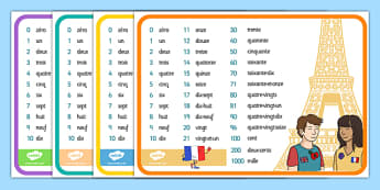 French Number Mats - numbers, visual, aids, France, mat, numeracy