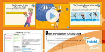 PlanIt - PE Year 5 - Athletics Lesson Pack Lesson 6: Throw It - PE, PlanIt, Y5, KS2, Athletics, throwing events, discus, javelin, shot put, hammer, push throw, pull
