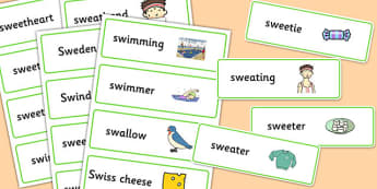 Two Syllable 'SW' Word Cards - sw sound, syllable, word cards