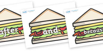 Connectives on Sandwiches to Support Teaching on The Lighthouse Keeper's Lunch - Connectives, VCOP, connective resources, connectives display words, connective displays