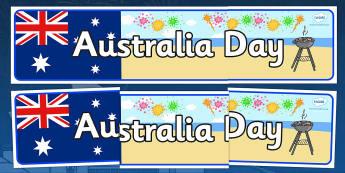 Australia Day Display Banner - Australia, Australia Day, Display banner, poster, display, kangaroo, wallaby, kookaburra, wombat, crocodile, koala, possum