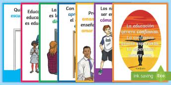 Pack de exposición: Frases sobre la educación - frases, citas, educación, póster, DIN A2, pósters, mural, murales, exposición, exponer, decorar,