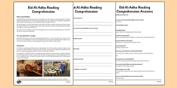 Eid-Al-Adha Reading Comprehension Activity - reading, comprehension, eid al-adha