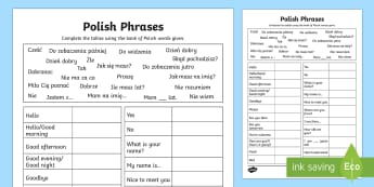 Common Phrases Table Activity Sheet Polish - worksheets, phrase, poland, activity sheet,eal,Polish-translation