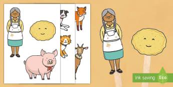 The Runaway Pancake Story Stick Puppets - pancake, run away, pancake day, story, small world