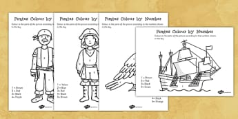 Pirates Colour by Number - pirates, colour, number, activity