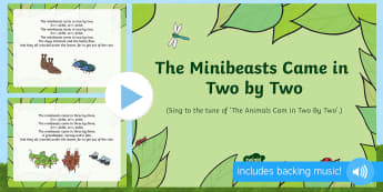 The Minibeasts Came in Two by Two Song PowerPoint - EYFS, Early Years, Key Stage 1, KS1, songs, music, minibeasts, insects, bugs, creepy crawlies, spide