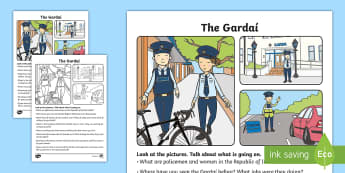 The Gardaí Oral Language Activity Sheet - ROI, Ireland, Gardaí, police, jobs, our community, oral language, activity sheet, worksheet, speaki