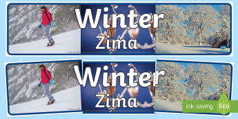 Four Seasons Photo Display Banner Winter English/Polish - Four Seasons Photo Display Banners Winter -  four seasons, winter, display banner, winter display ba