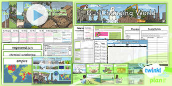 PlanIt - Geography Year 6 - Our Changing World Unit Pack - geography, coast, physical, human, changes