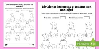 Ficha de actividad: Colorear por divisiones inexactas y exactas con una cifra - perros - dividir, división, repartir, cifras, divide, division, sharing, figures, digits, escrito, escrita,