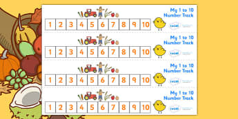 Harvest Number Track (1-10) - Harvest, Maths, Math, number track, numbertrack, Counting, Numberline, Number line, Counting on, Counting back, harvest festival, fruit, apple, pear, orange, wheat, bread, grain, leaves, conker