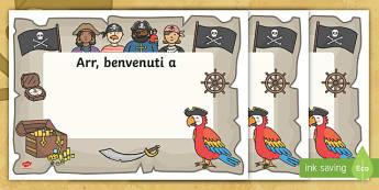 Benvenuti nella nuova classe piarata Poster - poster, pirati, ritorno, a scuola, italiano, italian, benvenuto, materiale, scolastico