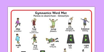 Gymnastics Instructions Word Mat Polish Translation - polish, gymnastics, instructions, word mat, gym, PE