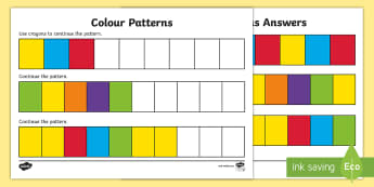 Colours Complete the Pattern Activity Sheet - NI KS1 Numeracy, colour, crayons, patterns, maths, complete, sequence, pattern