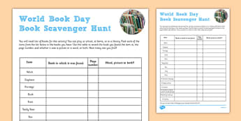 World Book Day Scavenger Hunt Checklist - world book day, scavenger, hunt