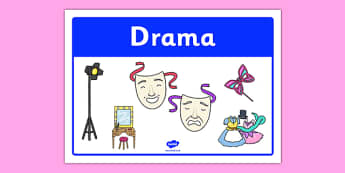 Drama Classroom Area Sign - gaeilge, roi, irish, area, sign, classroom, display, drama