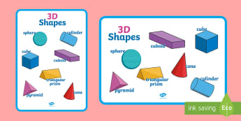Large 3D Shapes Poster - shapes, 3d shapes, 3d shapes poster, shapes poster, large shapes poster, shapes display poster, 3d shapes display poster
