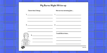 Burns Night Write Up Worksheet - burns night, write up, worksheet