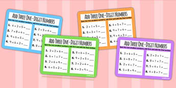 Add Three One Digit Numbers Smallest First KS1 Maths Challenge