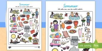 Sommer: Ich sehe was, was du nicht siehst... Aktivität - Sommer, Ich sehe was, was du nicht siehst, Aktivität, Arbeitsblatt, Farben, Anfangsbuchstabe, Spiel