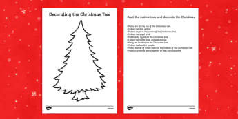 Christmas Tree Decorating Reading Comprehension Activity - comprehension, Christmas tree, decorating, read, draw