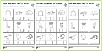 Find and Write the ch Words Differentiated Activity Sheet Pack, worksheet
