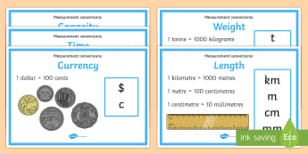 Measurement Conversion Display Posters - measurement, length, mass, capacity, temperature, display poster, year 3, year 4, year 5, year 6.,Au