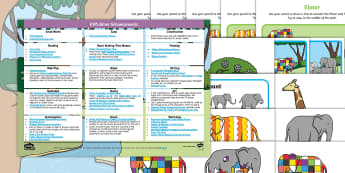 EYFS Enhancement Ideas and Resources Pack - EYFS, Early Years planning, Elmer, David McKee, colour, pattern, patchwork, elephant, continuous pro