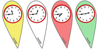 Analogue Time Fans (Quarter To) - Time fan, fan, Time resource, Time vocaulary, clock face, Oclock, half past, quarter past, quarter to, shapes spaces measures