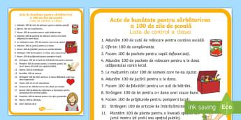 Acte de bunătate pentru a sărbători 100 de zile de școală - Listă de control  - 100 de zile de școală, română, diplome, sărbători, materiale, diplomă, acte de bunătate, dez