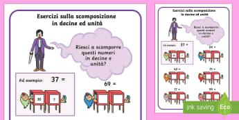 Matemagico della Scomposizione in Decine ed Unita - matematica, numeri, scomposizione, numeri, a , due, cifre, numeri, unita, decine, esercizio, italian