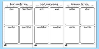 mo chlann Read and Draw Worksheet Gaeilge - gaeilge, my family, family, read, draw, worksheets