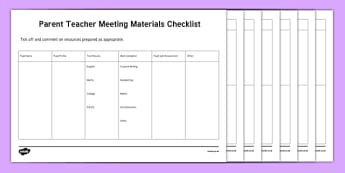 ROI Parent Teacher Meeting Materials Checklist-Irish