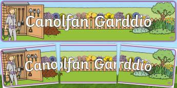 Baner Chwarae Rôl Canolfan Garddio - WLW Gwanwyn (Spring  20.3.17) canolfan garddio, planhigion, ardal allanol,Welsh