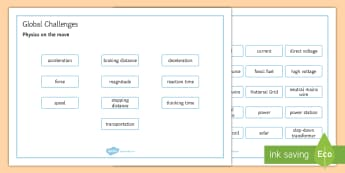 OCR Gateway Combined Science Global Challenges Word Mat - Word Mat, gcse, keywords, physics on the move, powering earth, national grid, mains electricity, ene