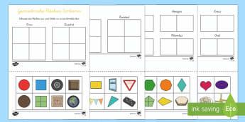 Geometrie: Flächen Sortieren Arbeitsblatt - Flächen, Ebene Figuren, 2D, Geometrie, German