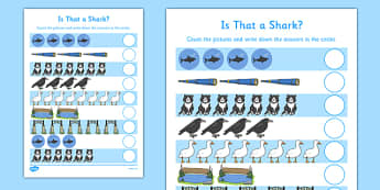 Is That a Shark? Counting Sheet - is that a shark, shark in the park, Nick Sharratt, storybook, counting, maths, number