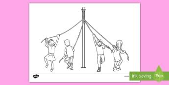 Maypole Colouring Page - maypole, may pole, colouring page, colouring, maypole colouring