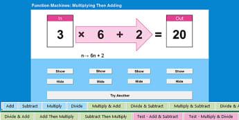 Interactive Function Machine Spreadsheet