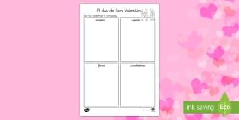 Ficha de actividad: Leer y dibujar - Día de San Valentín - San Valentín, día de los enamorados, amor, enamorar, valentin, leer, dibujar, actividad de dibujar
