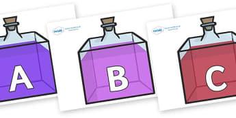 A-Z Alphabet on Perfume Bottles - A-Z, A4, display, Alphabet frieze, Display letters, Letter posters, A-Z letters, Alphabet flashcards