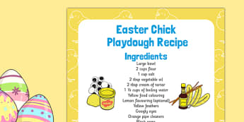 Easter Chick Playdough Recipe - Easter, easter chick, playdough, recipe