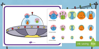 Put the Aliens in the Spaceship Game - EYFS, Early Years, Aliens Love Underpants, Claire Freedman, space, alien, spaceship, pin the tail,