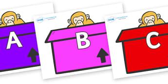 A-Z Alphabet on Monkeys (Box) to Support Teaching on Dear Zoo - A-Z, A4, display, Alphabet frieze, Display letters, Letter posters, A-Z letters, Alphabet flashcards